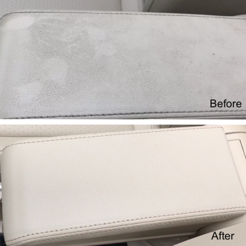 Interior Detailing Before and After Armrest